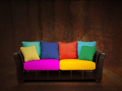 Use pillows to color your sofa!