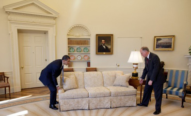 President Obama demonstrates how to move a couch