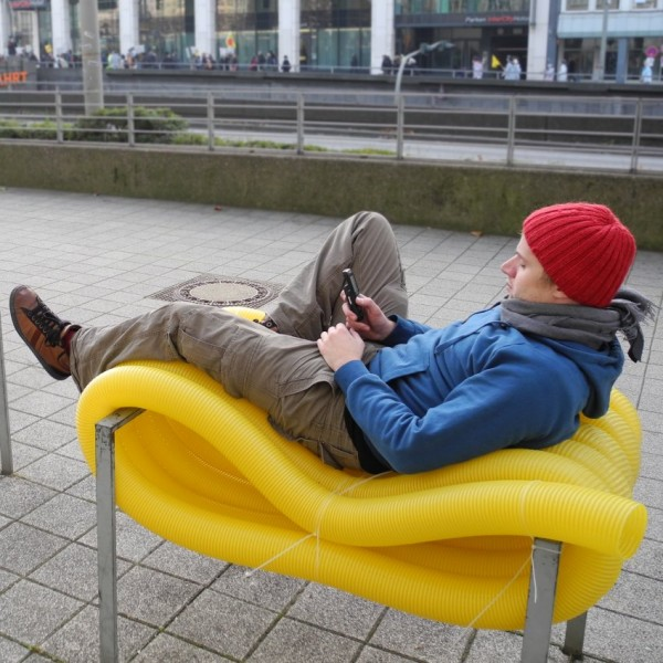 Oliver Show's sculptures act as public seating for Hamburg residents